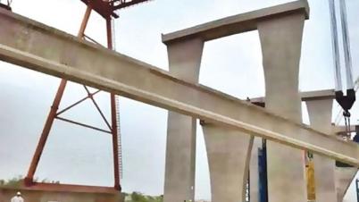 বসল রেলপথের গার্ডার, যুক্ত হলো দুই পার