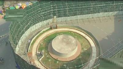দোলাইরপাড়ে নির্মাণাধীন বঙ্গবন্ধুর ভাস্কর্যের বেদী তৈরির কাজ প্রায়